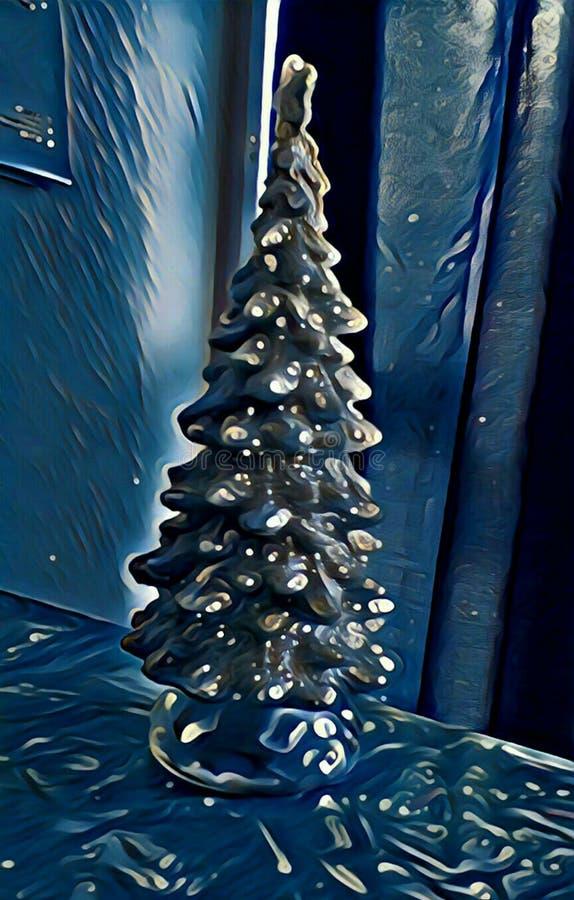 Błyszczący błękitny choinki tła wizerunek royalty ilustracja