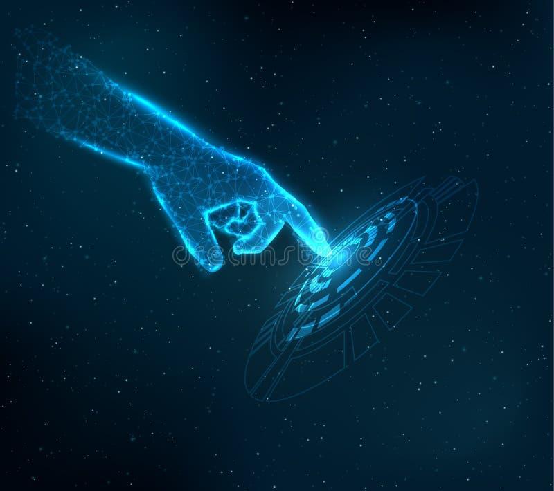 Błyszczący błękitny technologii tło ilustracji
