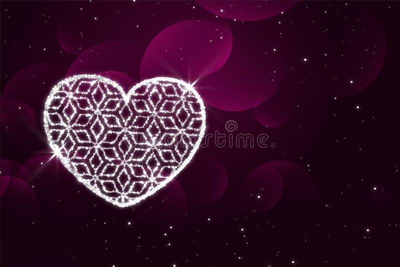 Błyszczący błyska kierowego purpurowego valentines dnia tło ilustracja wektor