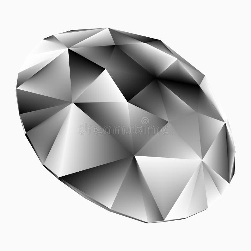 Błyszczący biały diamentowy ilustracyjny wektor ilustracji