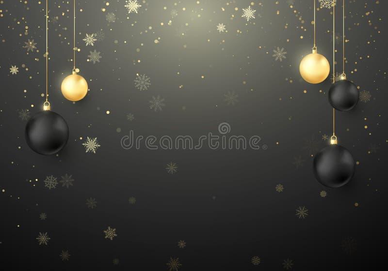 Błyszczący Bożenarodzeniowy wakacyjny tło Płatek śniegu i błyskają z złotą i czarną Bożenarodzeniową piłki dekoracją również zwró ilustracja wektor