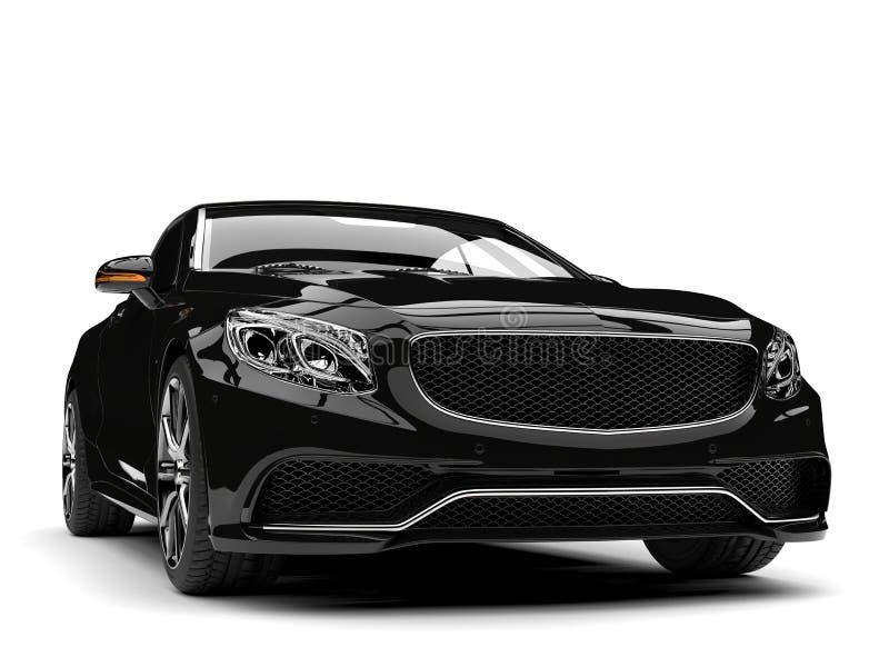Błyszczący czarny nowożytny luksusowy odwracalny samochód - frontowego widoku zbliżenia strzał ilustracji