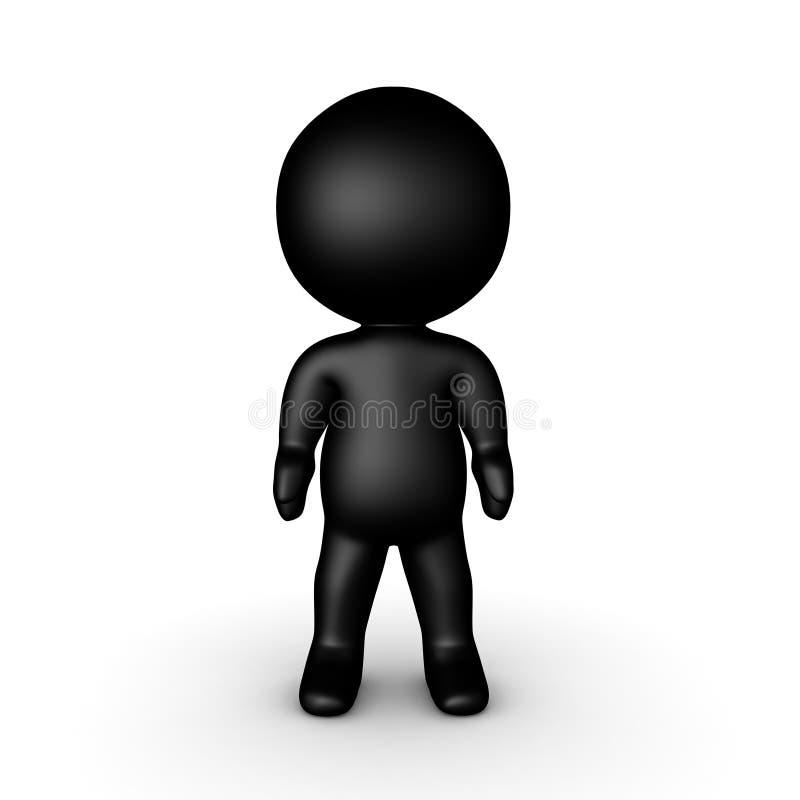 Błyszczący czerni 3D charakter trwanie wciąż ilustracji