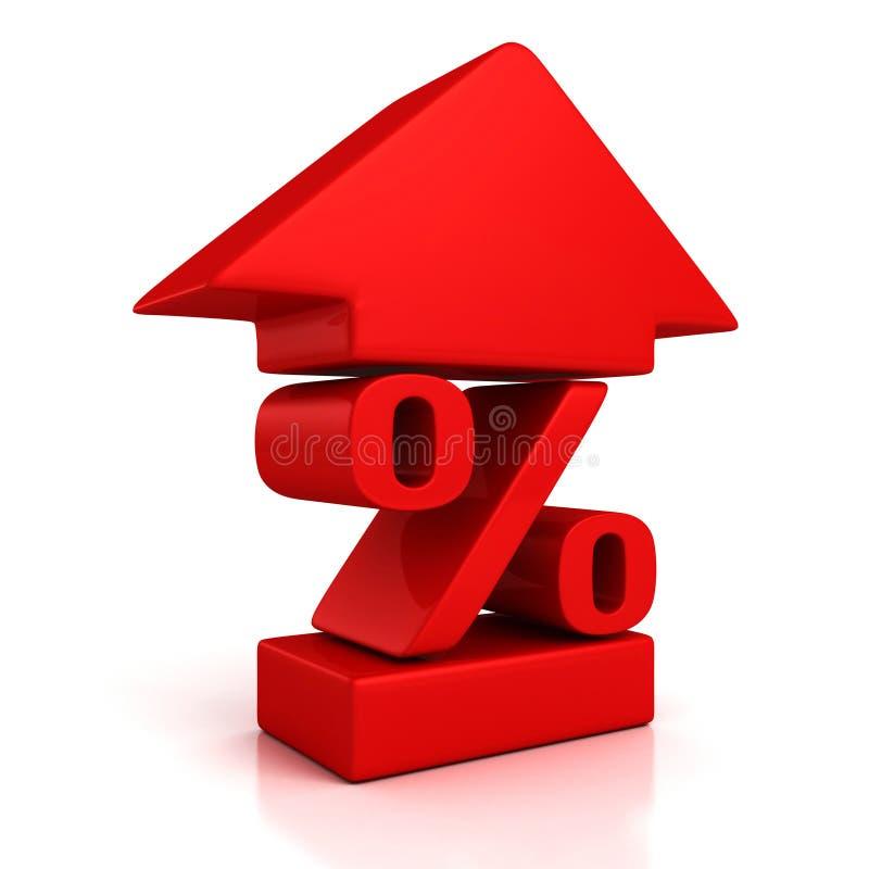 Błyszczący czerwony procentu symbol z narastającą up strzała ilustracji