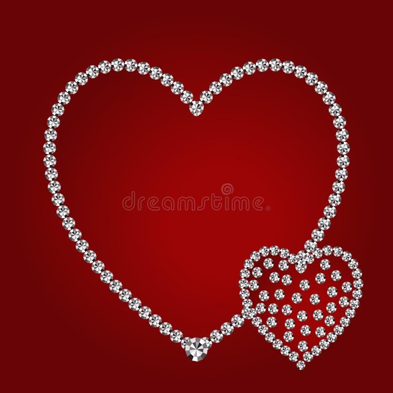 Błyszczący diamentowi serca obrazy stock