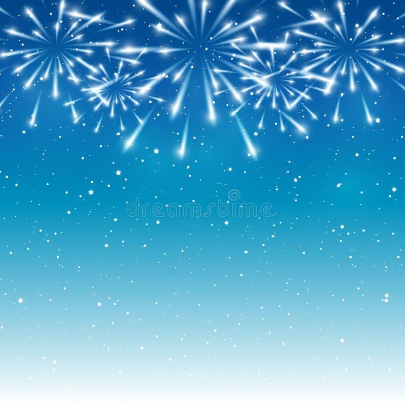 Błyszczący fajerwerki na błękicie ilustracji