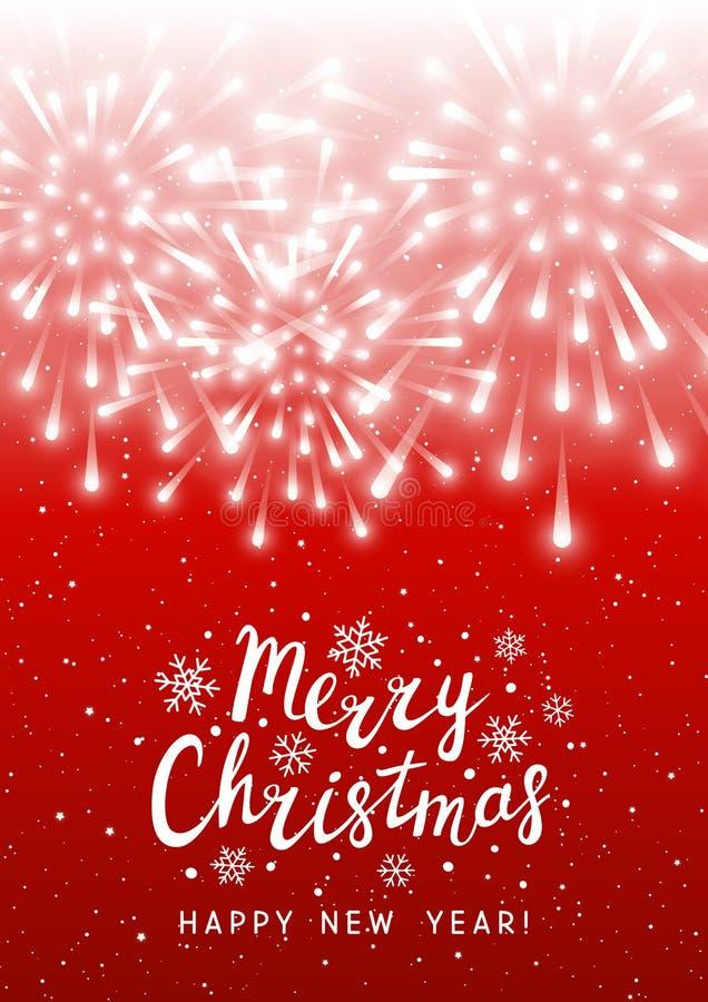 Błyszczący fajerwerki na czerwonym gwiaździstym tle - pionowo kartka z pozdrowieniami dla bożych narodzeń i nowego roku wakacyjne ilustracji