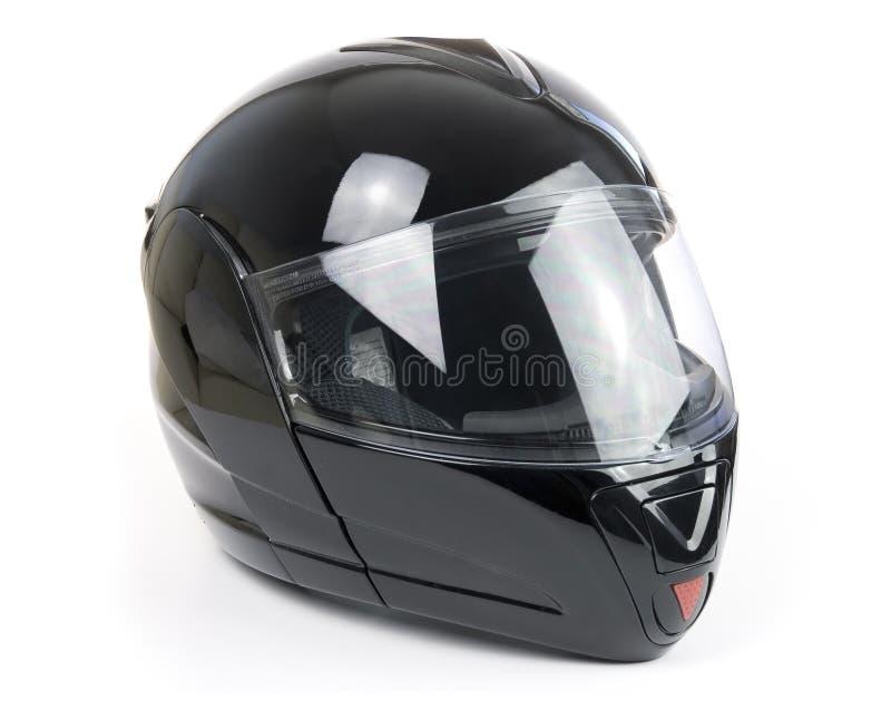 błyszczący hełma czarny motocykl zdjęcie royalty free
