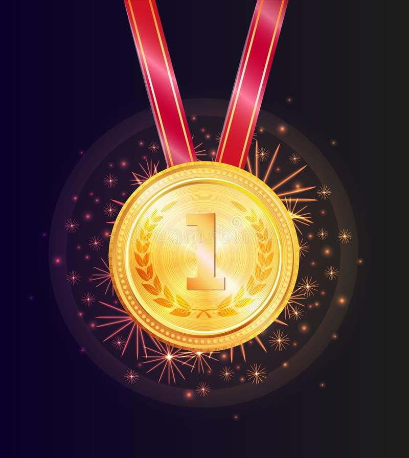 Błyszczący Honorowo złoty medal dla Pierwszy miejsce wygrany ilustracja wektor