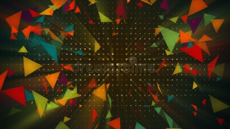 Błyszczący kolorowi trójboki Abstrakcjonistyczny wakacje 3d odpłaca się tło ilustracja wektor
