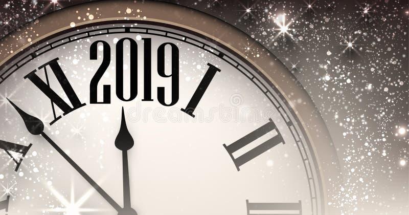 Błyszczący 2019 nowy rok tło z zegarem royalty ilustracja