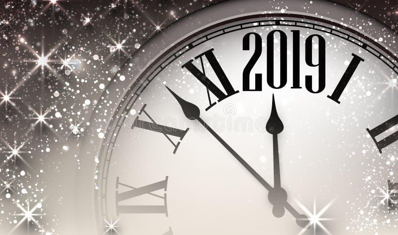 Błyszczący 2019 nowy rok tło z zegarem ilustracji