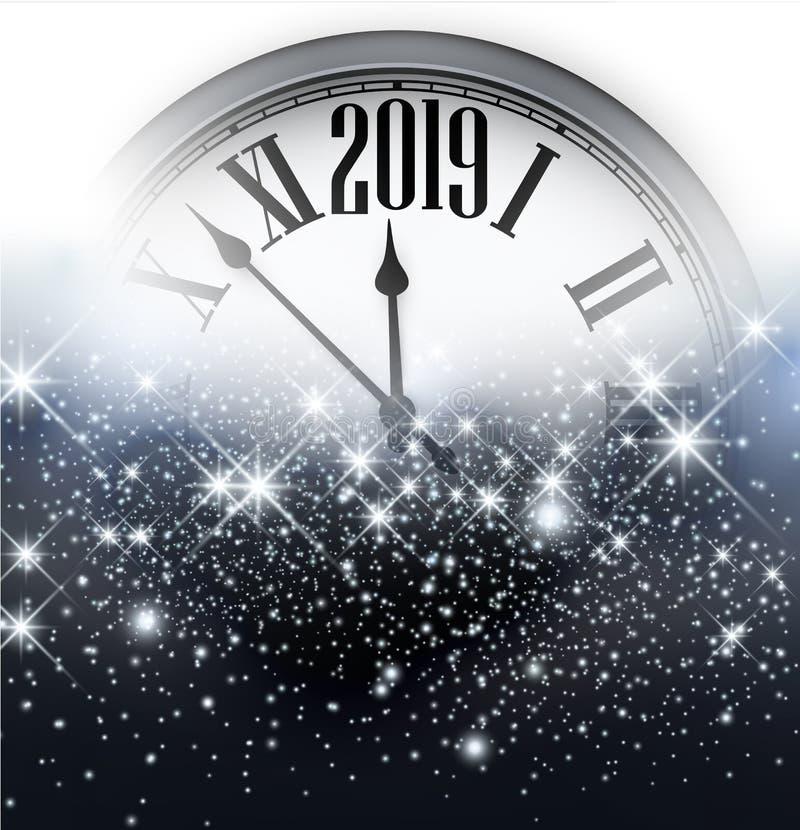 Błyszczący 2019 nowy rok tło z zegarem 2007 pozdrowienia karty szczęśliwych nowego roku royalty ilustracja