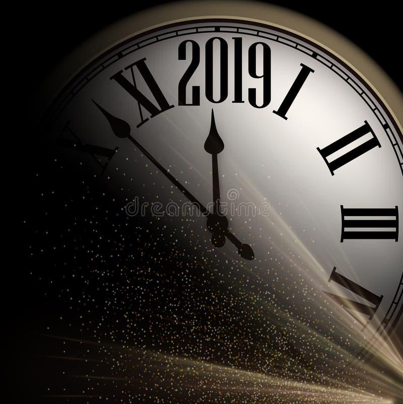 Błyszczący 2019 nowy rok tło z zegarem 2007 pozdrowienia karty szczęśliwych nowego roku ilustracji
