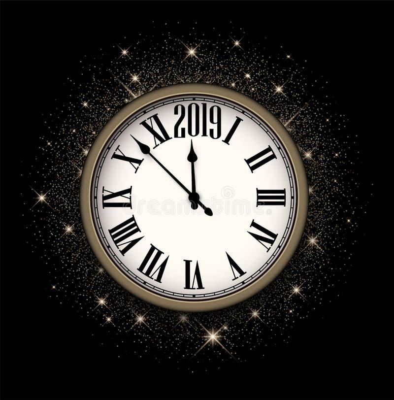 Błyszczący 2019 nowy rok tło z zegarem 2007 pozdrowienia karty szczęśliwych nowego roku ilustracja wektor