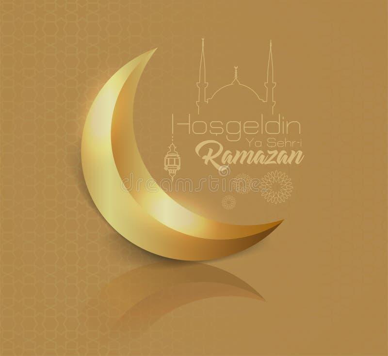 """Błyszczący półksiężyc wizerunek na złocistej sylwetce i tle liniowy meczet minimalny """"hosgeldin ya sehri ramazan† projekt i ilustracja wektor"""