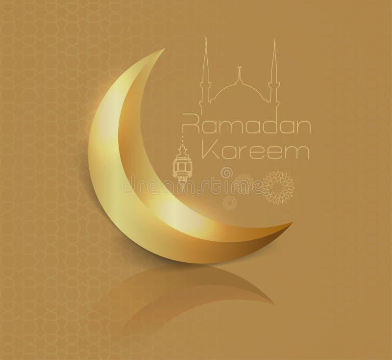 """błyszczący półksiężyc wizerunek na złocistej sylwetce i tle liniowy meczet minimalny """"ramadan kareem† projekta pojęcie i royalty ilustracja"""