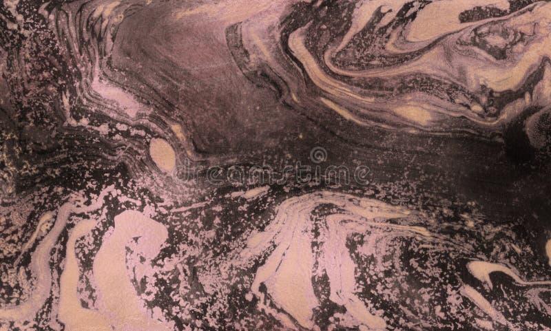 Błyszczący różany złoto marmuru tekstury tło Ebru marbleized papier zdjęcie royalty free
