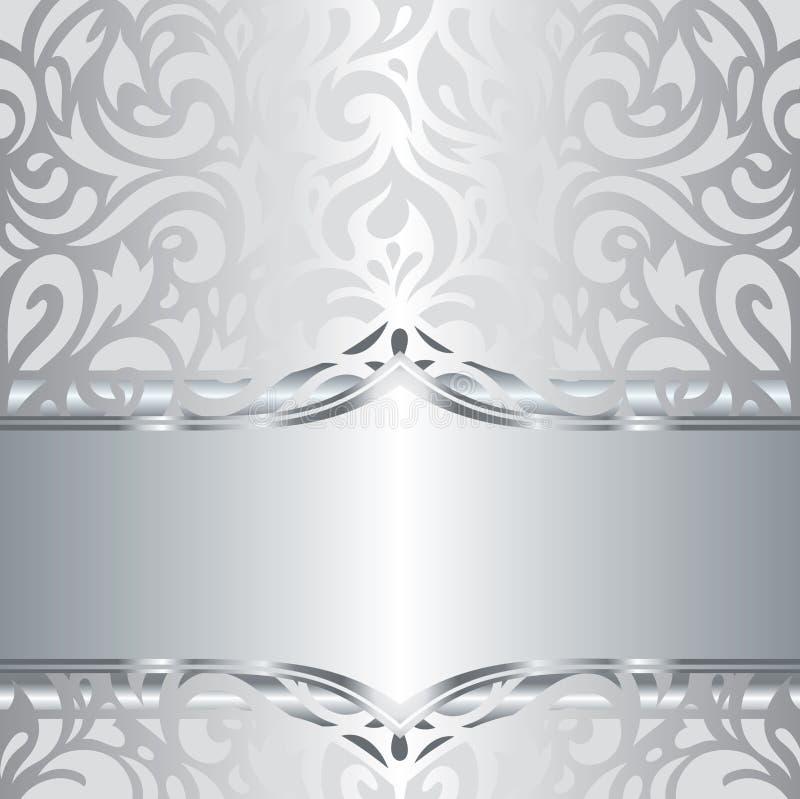 Błyszczący srebny kwiecisty wakacyjny rocznika zaproszenia tła projekt ilustracji