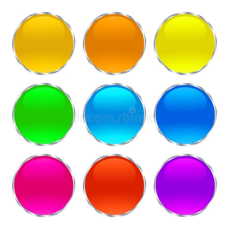Błyszczący szkło guziki i sieci ikony ilustracja wektor