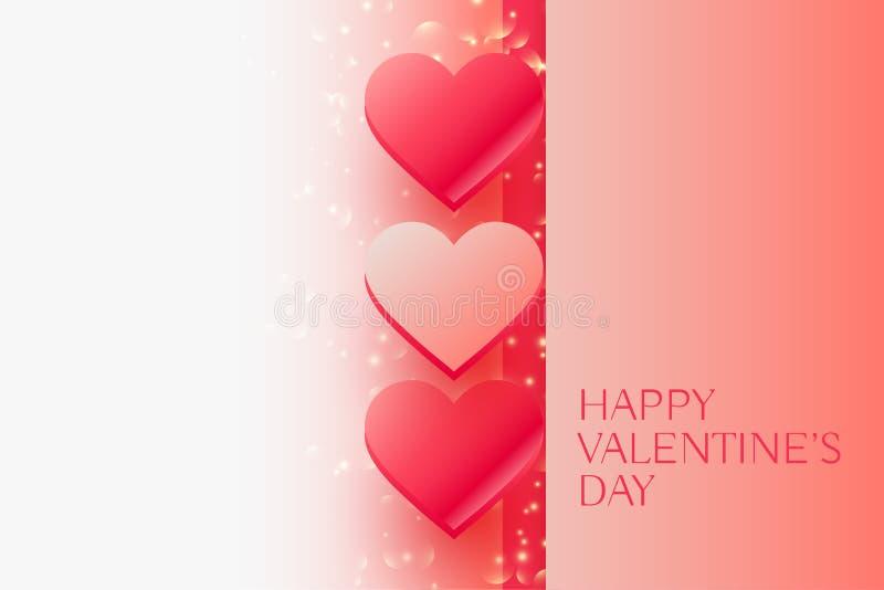 Błyszczący valentines dnia piękni serca z przestrzenią dla twój teksta ilustracji