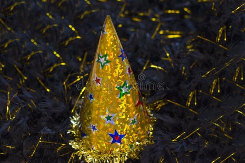 Błyszczący złota przyjęcia kapelusz zdjęcie stock