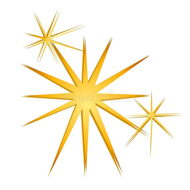 błyszczący złoto błyska gwiazdy ilustracji