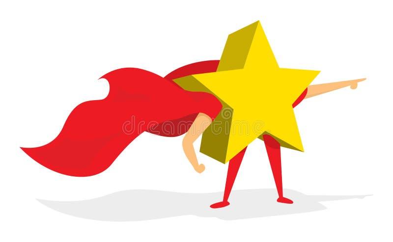 Błyszczący złoto gwiazdy huper bohater z przylądkiem royalty ilustracja