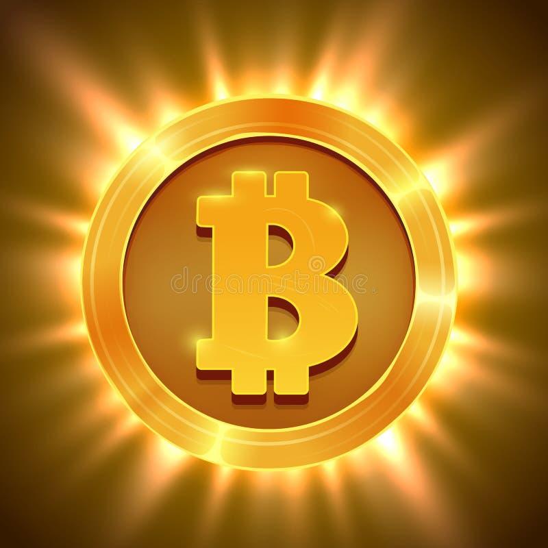 Błyszczący złoty bitcoin odizolowywający na bielu Blockchain pojęcie ilustracji