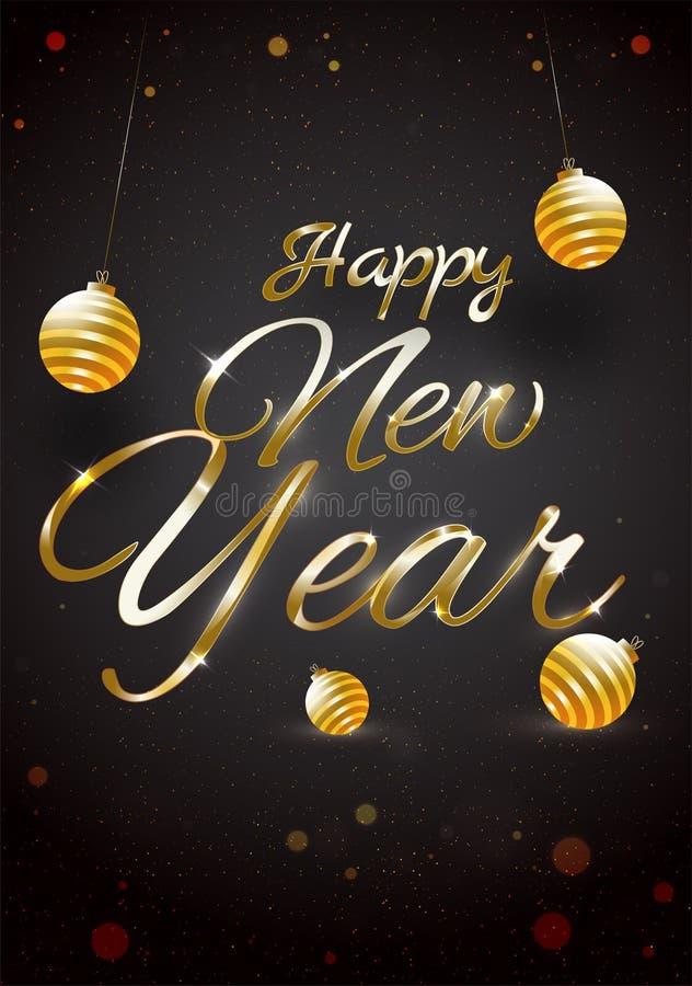 Błyszczący złoty literowanie Szczęśliwy nowy rok z baubles na czarny b ilustracja wektor