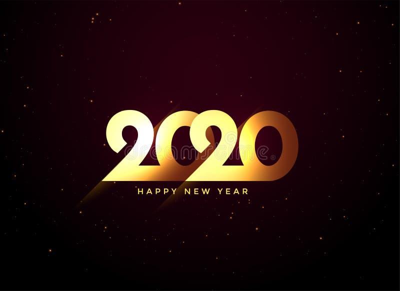 Błyszczący złoty 2020 szczęśliwy nowy rok projektowania tła ilustracji