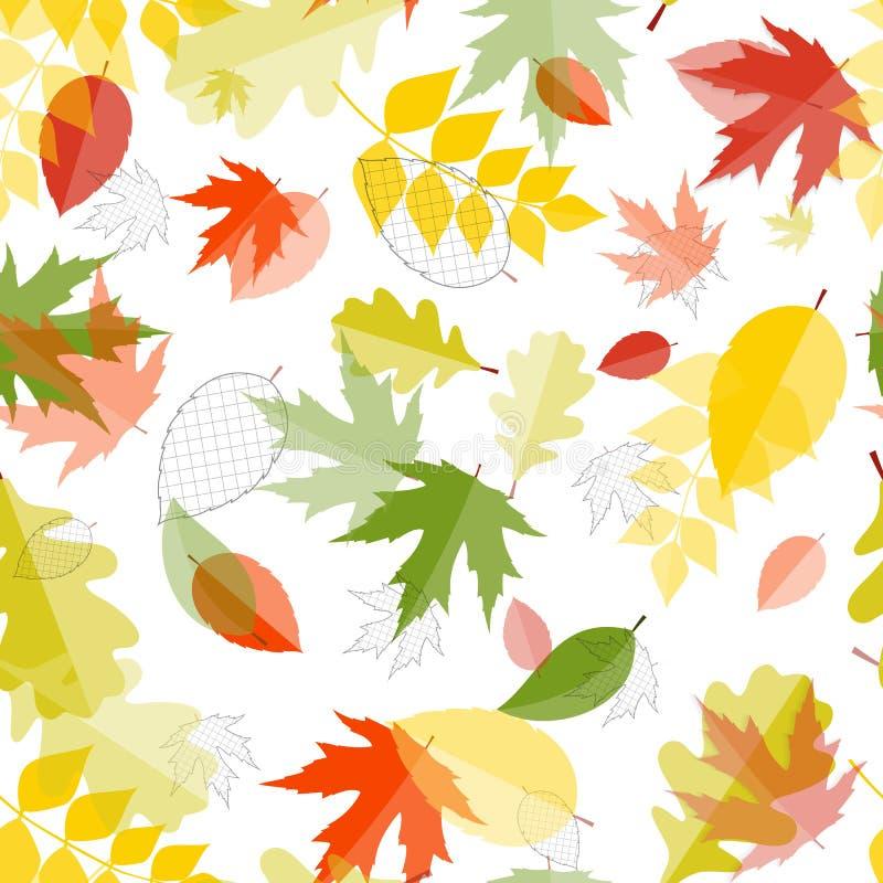 Błyszczących jesień Naturalnych liści Bezszwowy Deseniowy tło wektor ilustracji