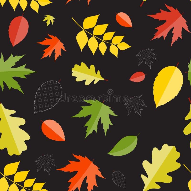 Błyszczących jesień Naturalnych liści Bezszwowy wzór ilustracja wektor