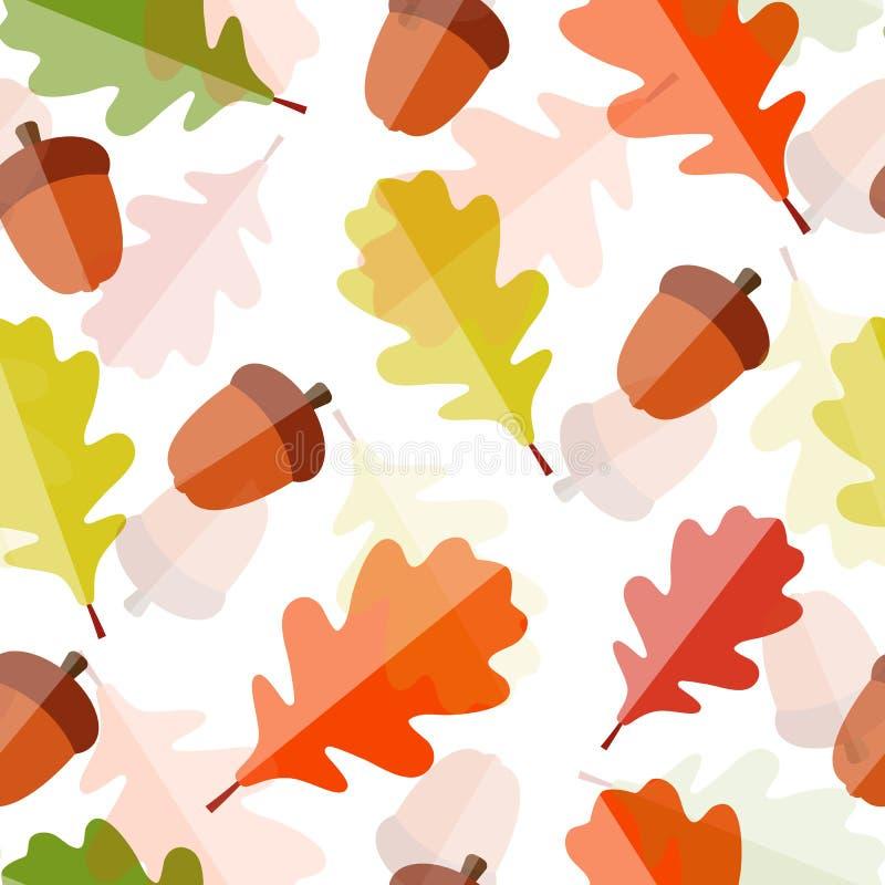 Błyszczących jesień Naturalnych liści Bezszwowy wzór ilustracji