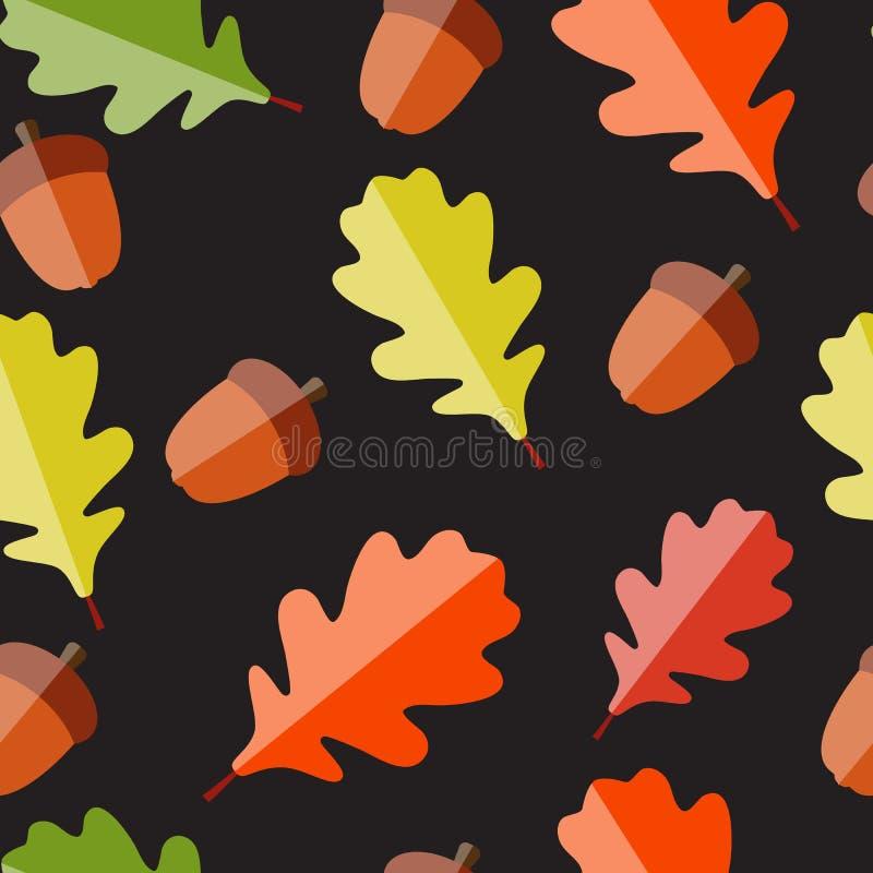 Błyszczących jesień Naturalnych liści Bezszwowy wzór royalty ilustracja