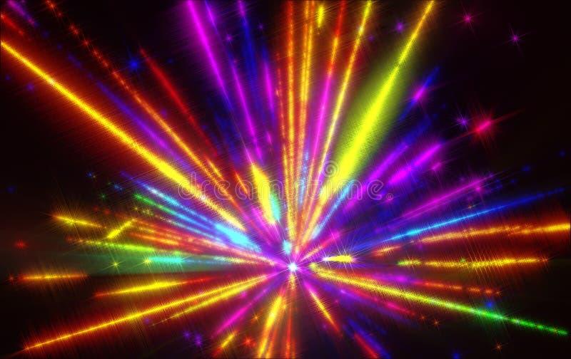 Błyszczeć fantastycznego promieniowego wybuchu kolorowego odcień ilustracja wektor