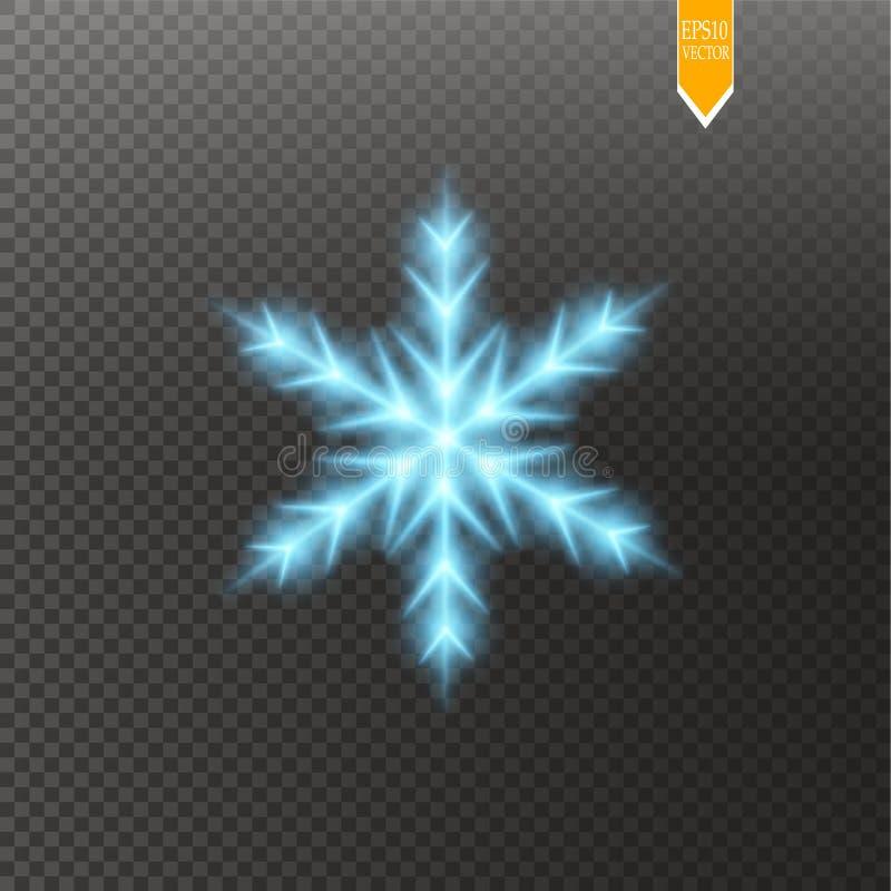 Błyszczy błękitnego płatek śniegu z błyskotliwością odizolowywającą na przejrzystym tle Bożenarodzeniowa dekoracja z olśniewający ilustracji