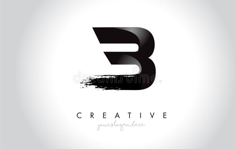 B与刷子冲程的书信设计和现代3D看 向量例证