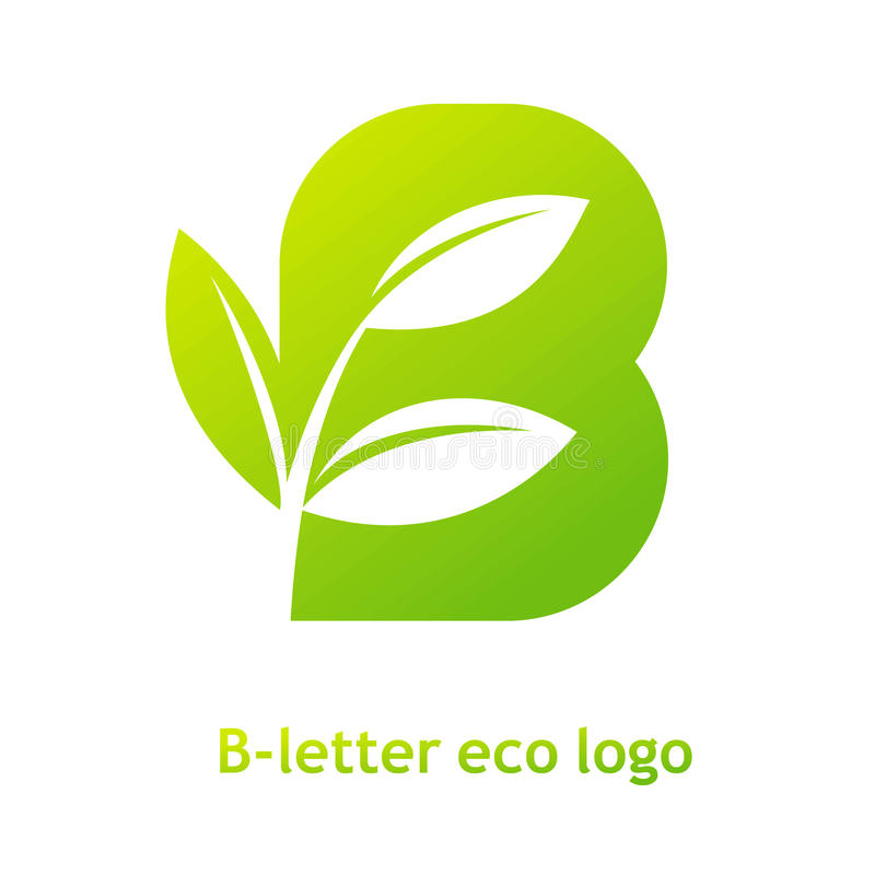 b信件在白色背景的eco商标 与新芽草叶子的有机生物商标公司公司样式图片