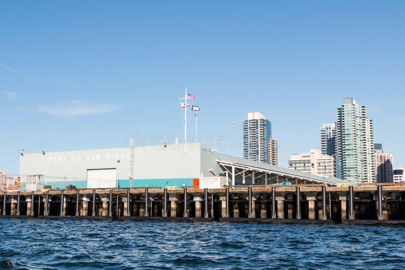 B街道码头在圣迭戈,加利福尼亚 免版税库存照片