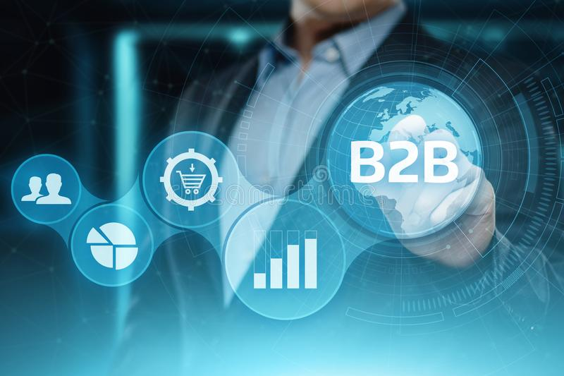 B2B έννοια μάρκετινγκ τεχνολογίας εμπορίου επιχειρησιακής επιχείρησης απεικόνιση αποθεμάτων