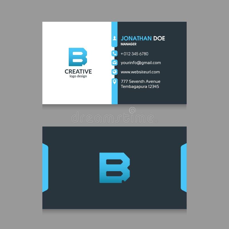 B резюмирует логотип письма с современным вектором шаблона дизайна визитной карточки корпоративного бизнеса иллюстрация вектора