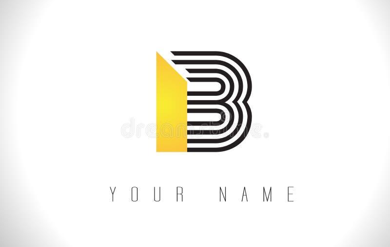B黑色排行信件商标 创造性的线在传染媒介模板上写字 库存例证