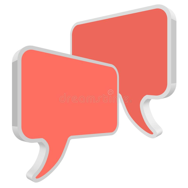 Chat speech bubbles in perspective vector Coral color on a white background royalty free illustration