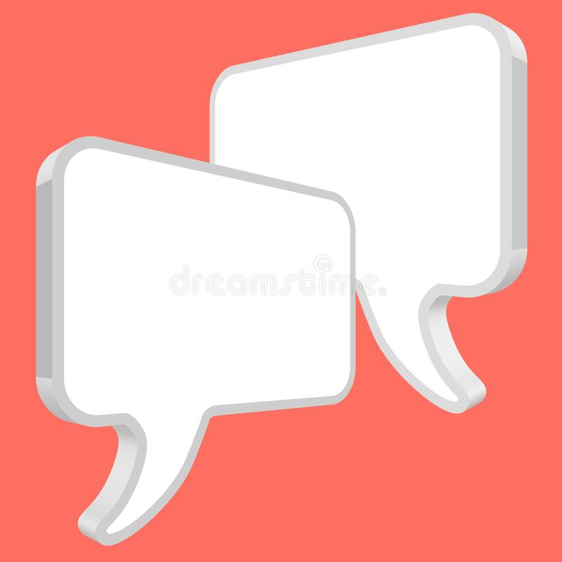 Chat speech bubbles in perspective vector white on a Coral color background stock illustration