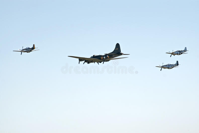 Download B-17 And Three P-51's Fly In Formation Editorial Photo - Image: 16681881