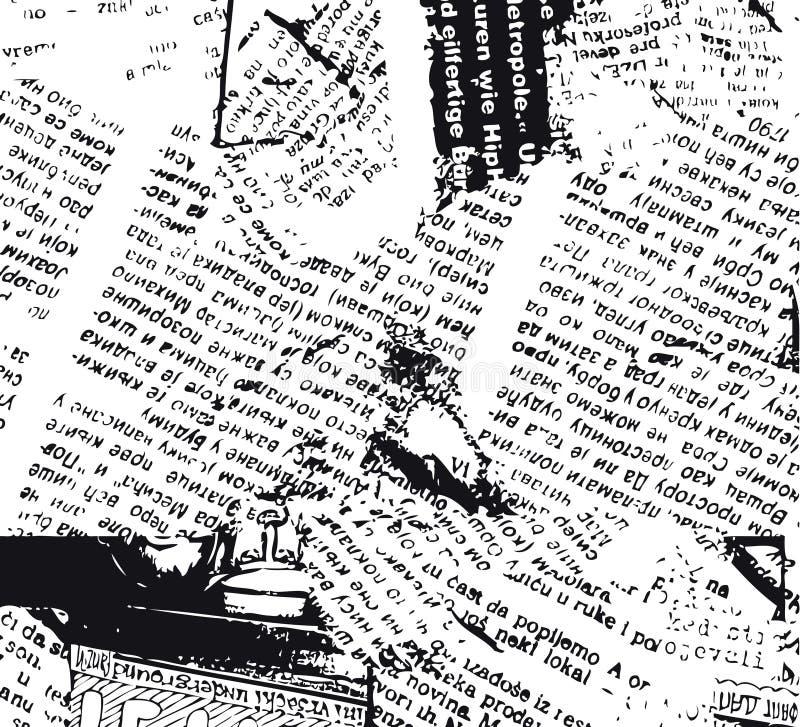 B&w do grunge do jornal ilustração do vetor