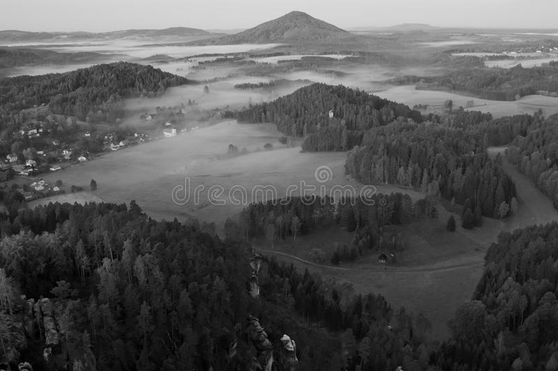 B&W het Landschap van de herfst royalty-vrije stock fotografie
