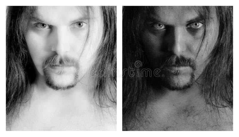 B&W portret van een mens stock afbeeldingen
