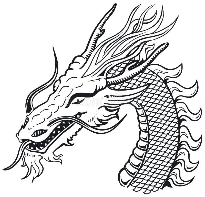 B&w principal do dragão ilustração do vetor